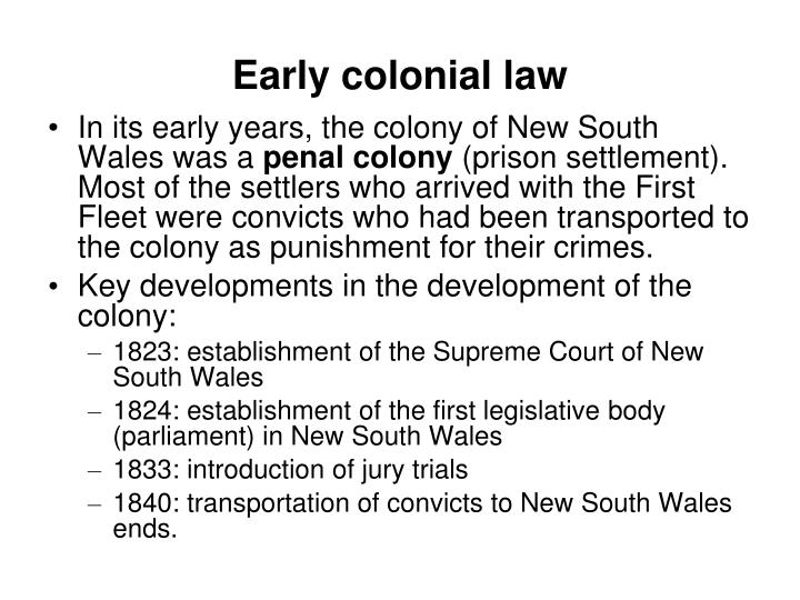Early colonial law