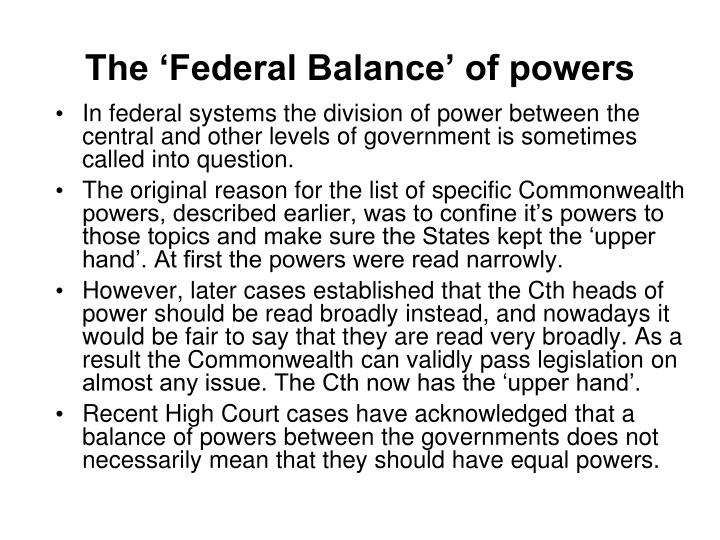The 'Federal Balance' of powers