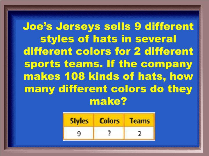 Joe's Jerseys sells 9 different styles of hats in several different colors for 2 different sports teams. If the company makes 108 kinds of hats, how many different colors do they make?