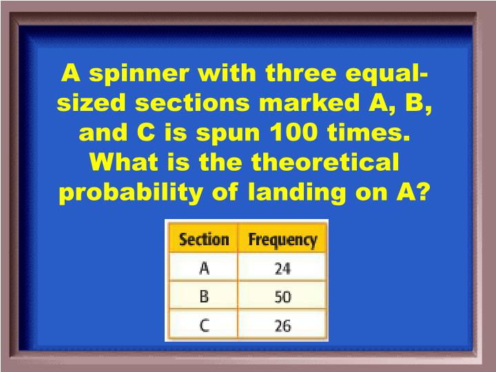 A spinner with three equal-sized sections marked A, B, and C is spun 100 times. What is the theoretical probability of landing on A?