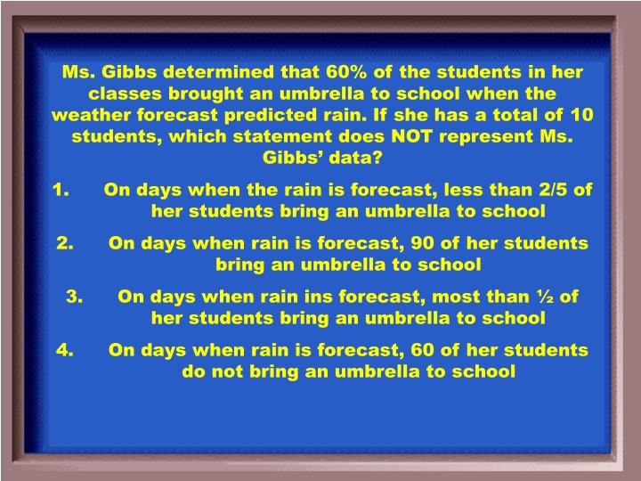 Ms. Gibbs determined that 60% of the students in her classes brought an umbrella to school when the weather forecast predicted rain. If she has a total of 10 students, which statement does NOT represent Ms. Gibbs' data?