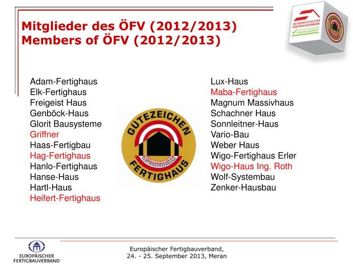 Mitglieder des ÖFV (2012/2013)