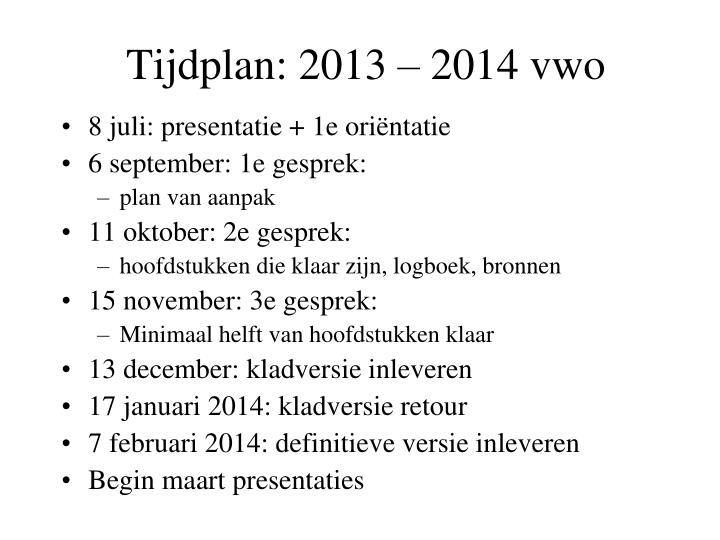 Tijdplan:
