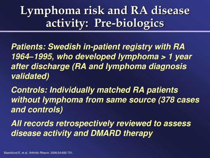Lymphoma risk and RA disease activity:  Pre-biologics