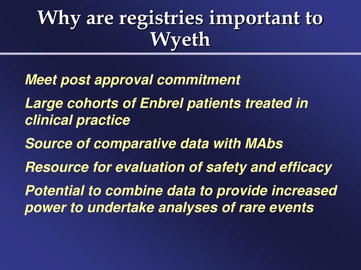 Why are registries important to Wyeth