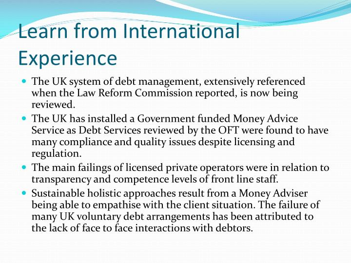 Learn from International  Experience