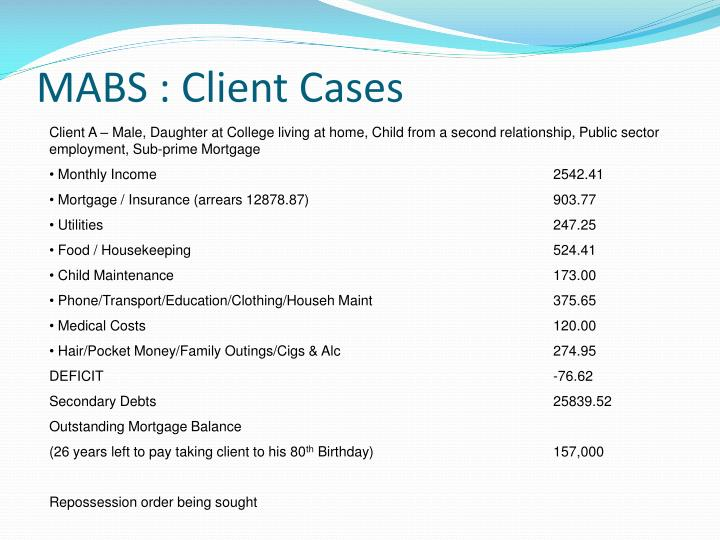 MABS : Client Cases