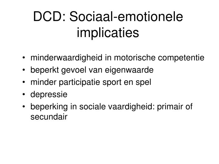 DCD: Sociaal-emotionele implicaties