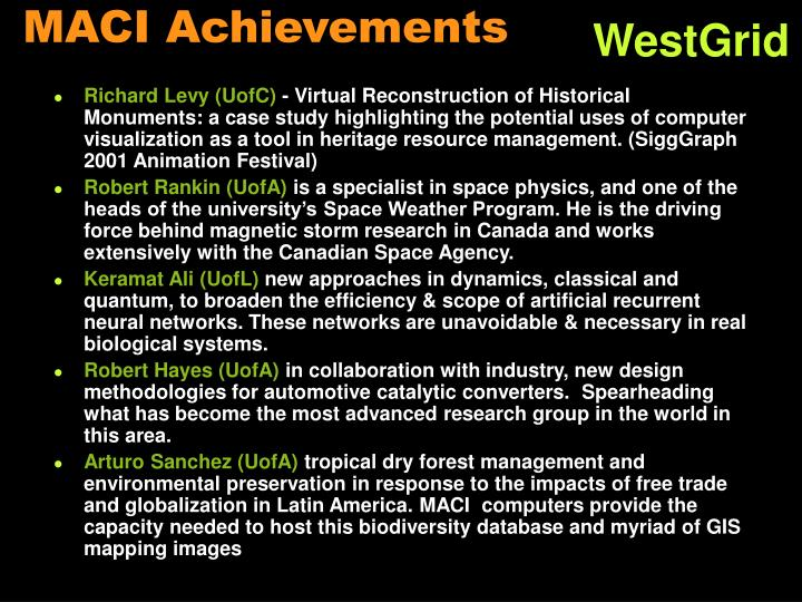 MACI Achievements