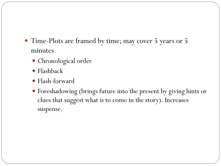 Time-Plots are framed by time; may cover 5 years or 5 minutes
