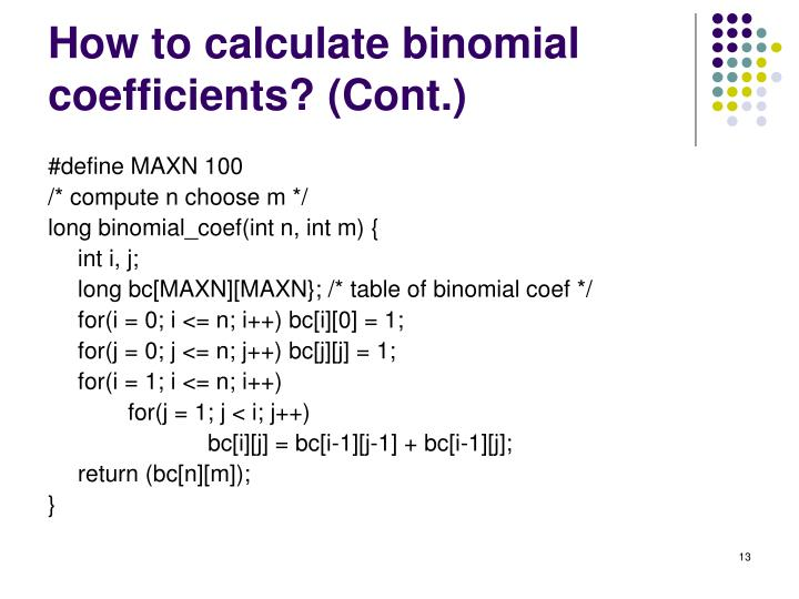 How to calculate binomial coefficients?