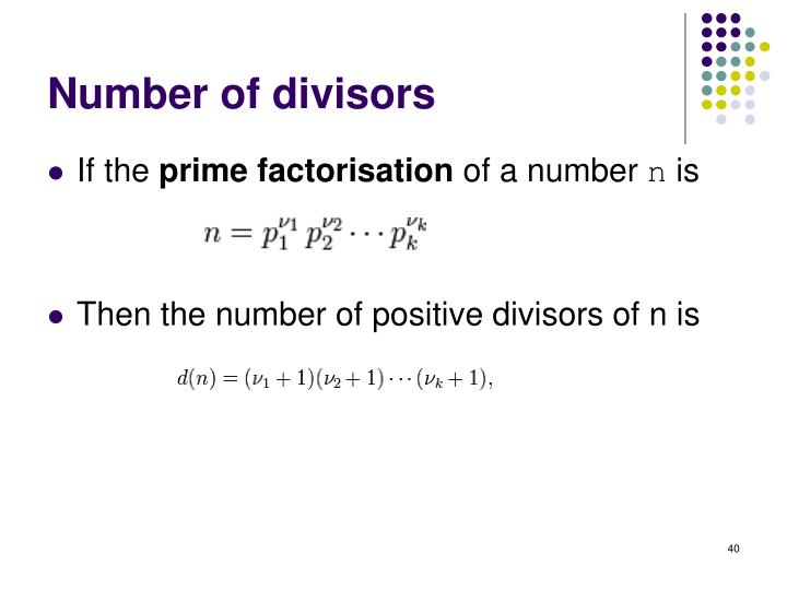 Number of divisors