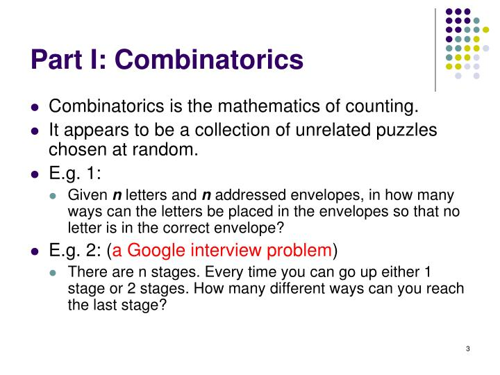 Part i combinatorics