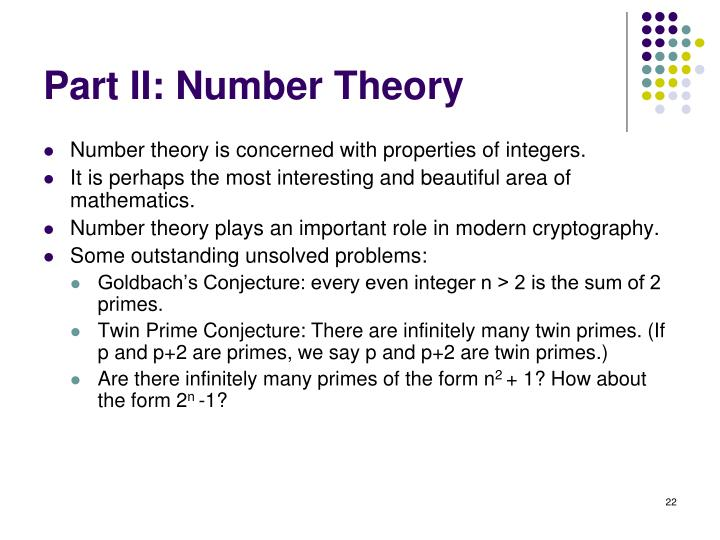 Part II: Number Theory