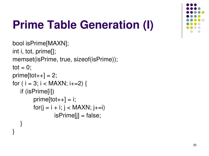 Prime Table Generation (I)