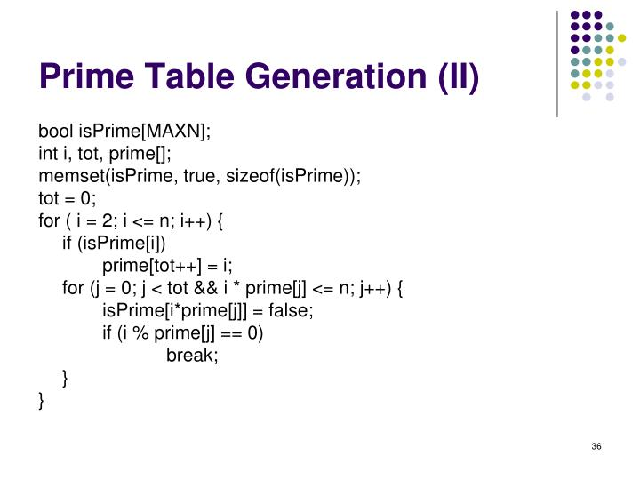 Prime Table Generation (II)
