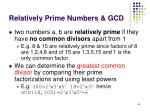 relatively prime numbers gcd