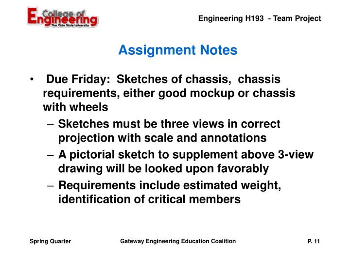 Assignment Notes