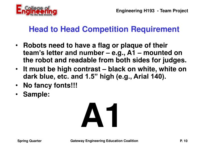 Head to Head Competition Requirement