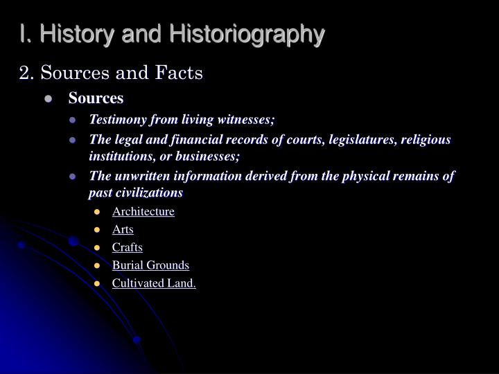 I. History and Historiography