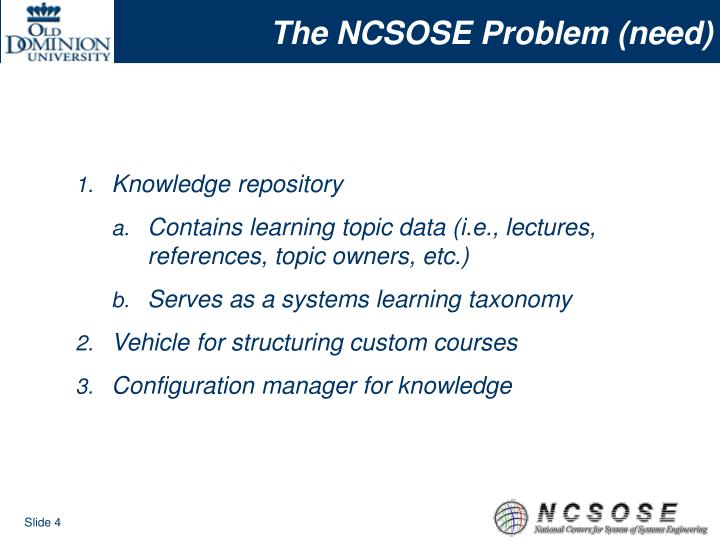 The NCSOSE Problem (need)