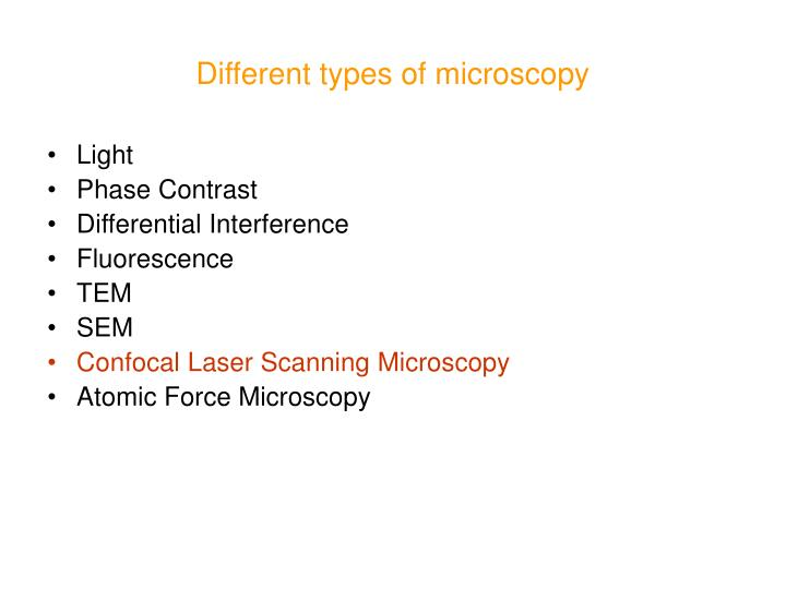 Different types of microscopy