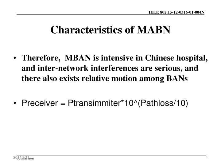 Characteristics of MABN