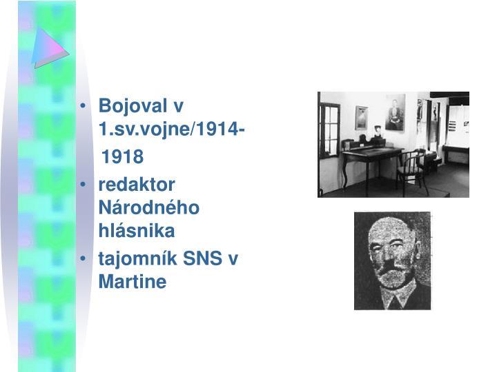 Bojoval v 1.sv.vojne/1914-