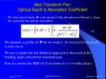 abel transform pair optical depth absorption coefficient
