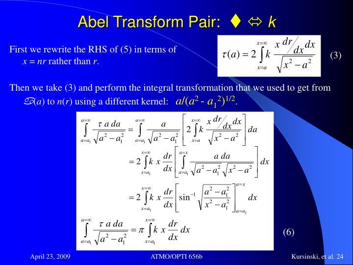 Abel Transform Pair:
