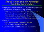 aircraft aircraft cm mm wavelength occultation demonstration