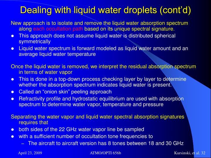 Dealing with liquid water droplets (cont'd)