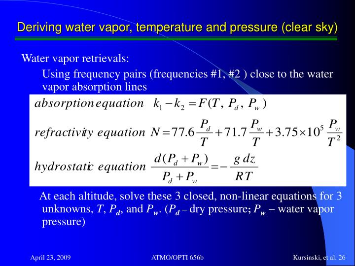 Deriving water vapor, temperature and pressure (clear sky)