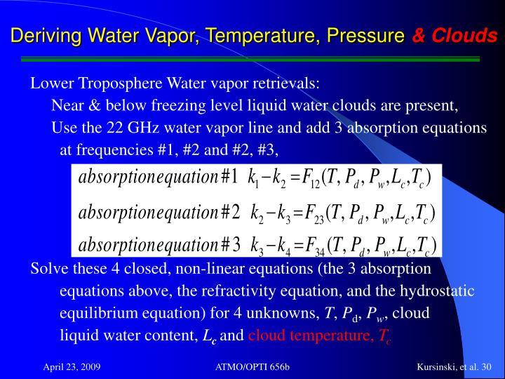 Deriving Water Vapor, Temperature, Pressure