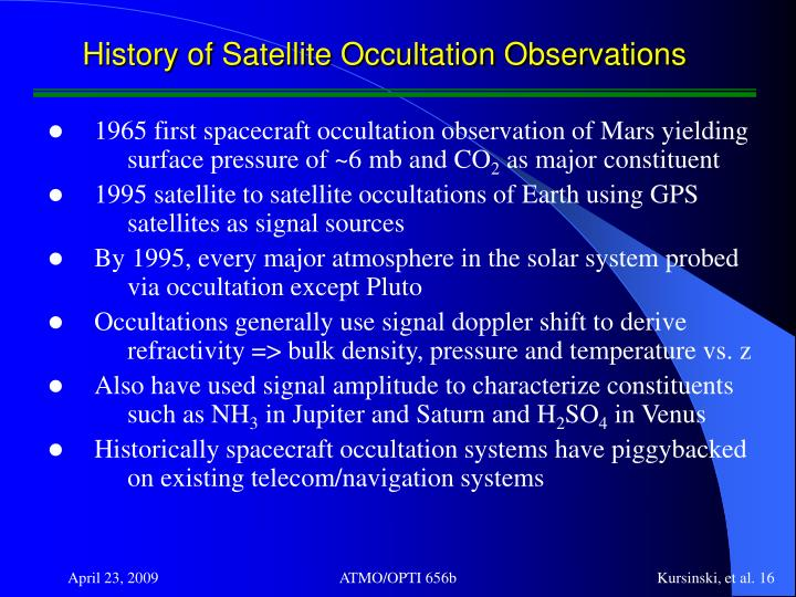 History of Satellite Occultation Observations