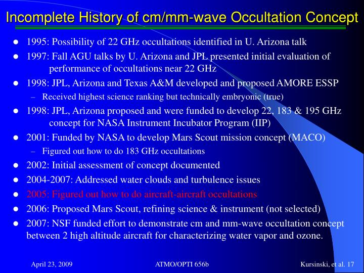 Incomplete History of cm/mm-wave Occultation Concept