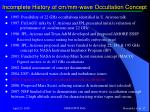 incomplete history of cm mm wave occultation concept