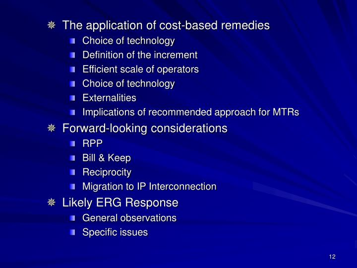 The application of cost-based remedies