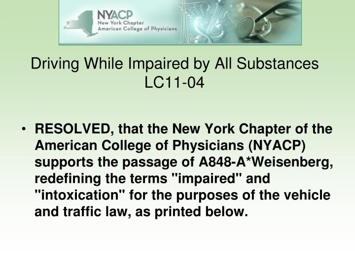 Driving While Impaired by All Substances