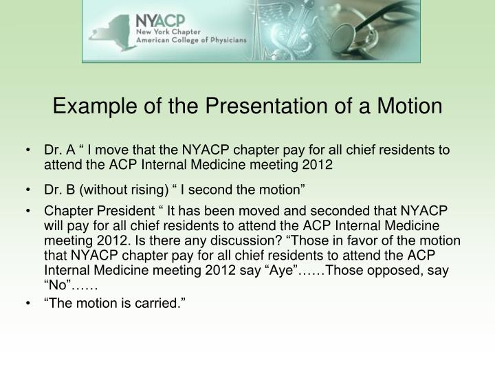 Example of the Presentation of a Motion