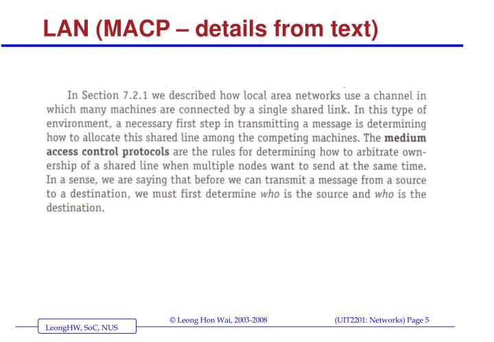 LAN (MACP – details from text)