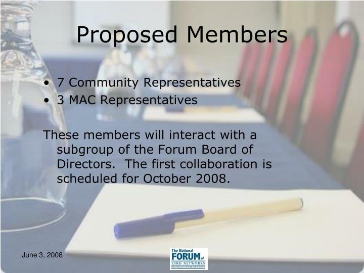 Proposed Members