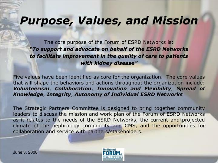 Purpose, Values, and Mission