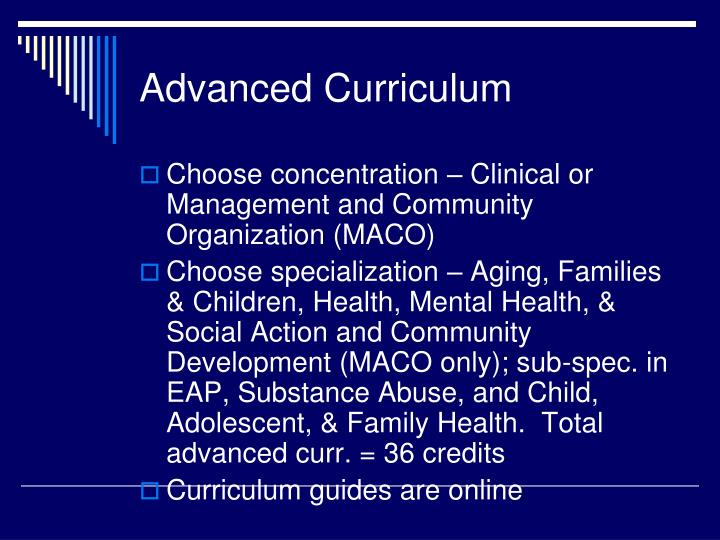 Advanced Curriculum