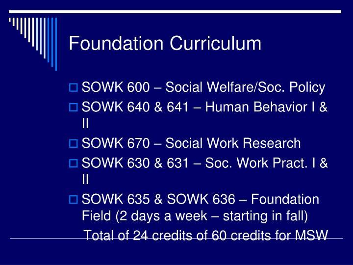 Foundation Curriculum