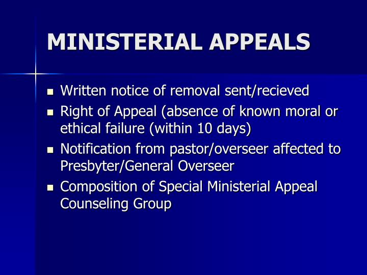 MINISTERIAL APPEALS