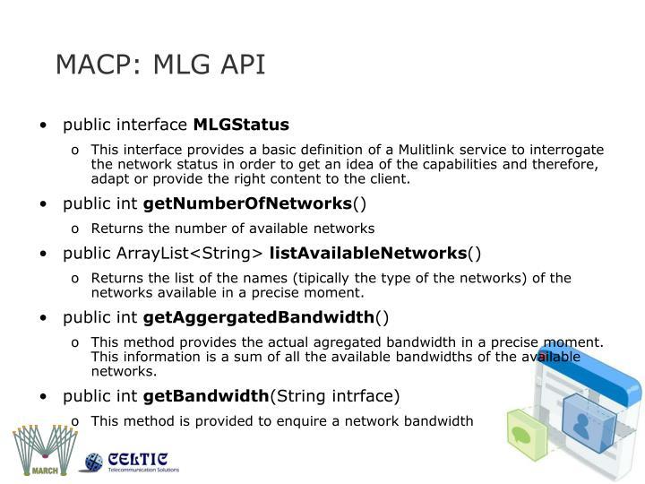 MACP: MLG API