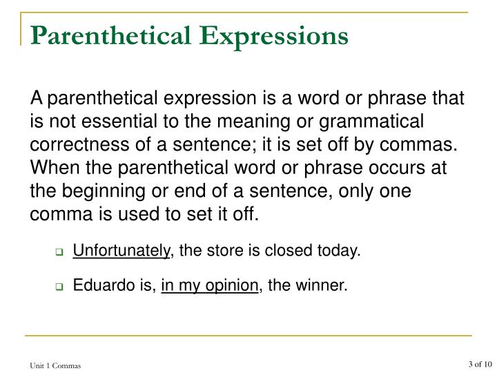 Parenthetical expressions