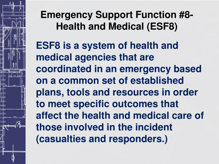 Emergency support function 8 health and medical esf8