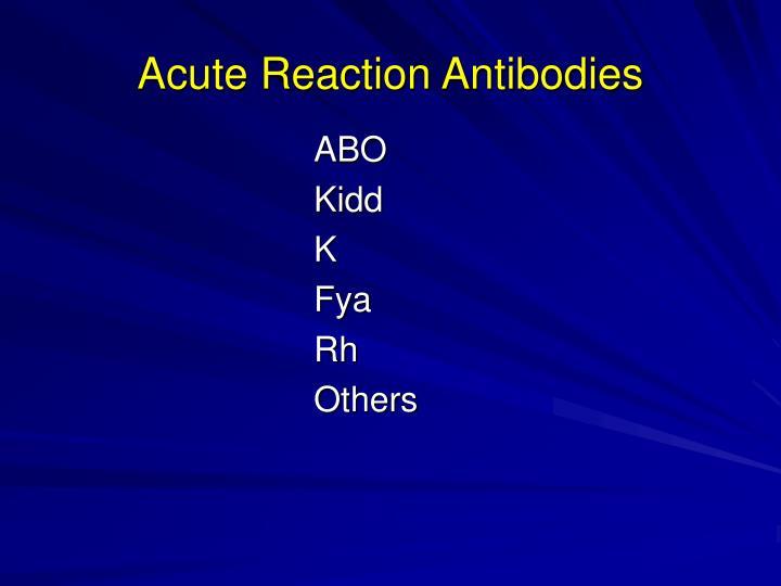 Acute Reaction Antibodies